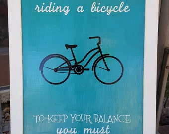 Life is Like a Bicycle Wall Art, Framed Bike Art, Keep Your Balance, Home Decoration