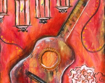 Spanish Guitar Acrylic Painting Giclée Print Art Wall Decor