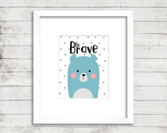 Be Brave bear nursery wall art. Baby boy, nursery decor, wall art