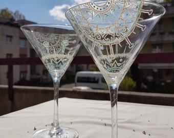 Pair of hand painted wedding glasses, martini glasses