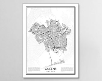 Queens New York City Map, Minimalist city maps, Queens Poster, Wall Art Gift
