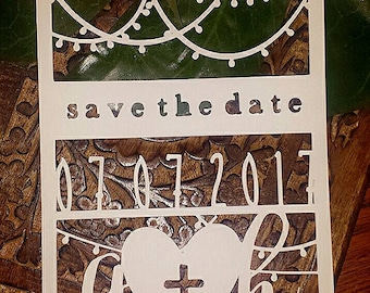 String of Lights Diecut Save the Date Announcement