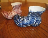 BARGAIN!James Kent Ltd OLD FOLEY Collection, Two vases, 1 Pink & 1 Blue boot Bud Vases.Staffordshire England