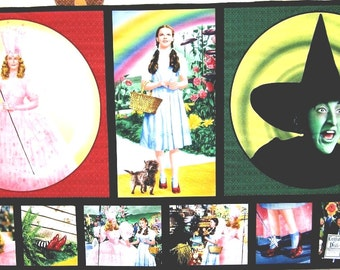 "Quilting Treasures Wizard of Oz Fabric Pillow Panel 23"" x 44""  100% Cotton Quilt Shop Quality Fabric"