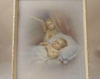 1960s Kitsch Guardian Angel Print - Glazed & Framed 10' x 8""