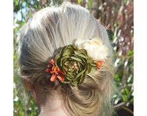Fall Floral Hair Clip, Olive Green, Orange, Off White Flowers with pearls and crystals, Holiday Party Hair Clip, Wedding, Fall