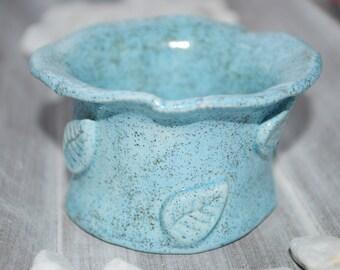 Tealight holder Blue speckled ceramic