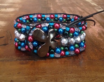 Handmade bracelet with colored beads