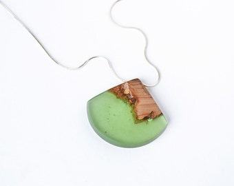 Necklace / Pendant - green resin and wood