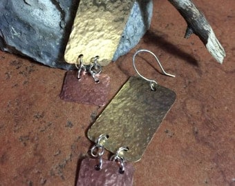 Hammered copper and brass earrings, copper hammered, brass hammered, silver earrings