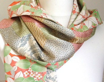 Silk scarf/wrap. Kimono silk scarf in green, peach and ivory.