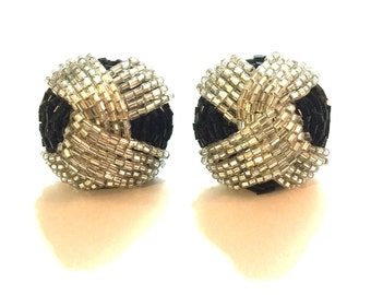 Black and clear big beaded clip on earrings- beaded clip on vintage gift black statement jewelry 80s