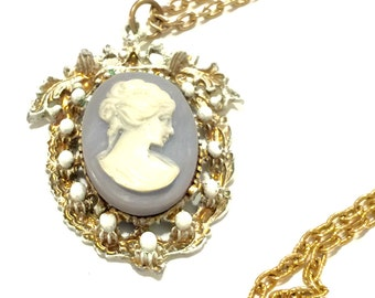 Blue cameo crown necklace