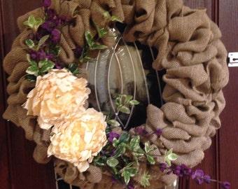 Plum and Ivory Burlap Wreath 12 in.