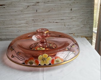 Vintage 1930s Hand Painted Console Bowl and Matching Candle Holder of Pink Depression Glass