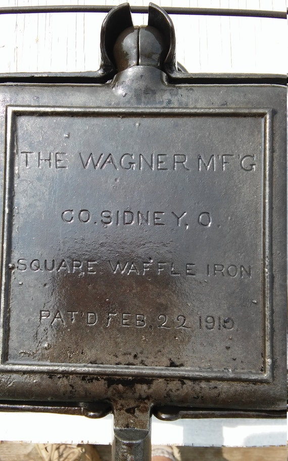Vintage 1910 The Wagner M'F'G Co. Sidney, O. Square Waffle Iron. Pat'd Feb. 22, 1910. Professionally cleaned using electrolosis.