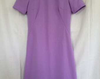 Vintage 60s Dress Lilac Mod Fitted Short Sleeve Handmade M 6/8