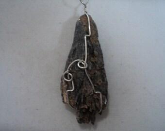 Pendant Black Kyanite in Sterling Silver Wire Wrap (#647)