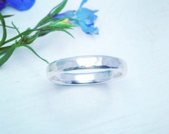 Hammered Silver Ring, Hammered Silver Band, Wedding Band, Wedding Ring, Handmade Silver Ring, Silver Band,
