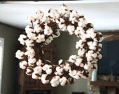 Cotton Wreath, Fixer Upper Wreath, Rustic Wreath, Cotton Stem, Farmhouse Decor, Rustic Decor, Year Round Wreath, Cotton Boll, Joanna Gaines
