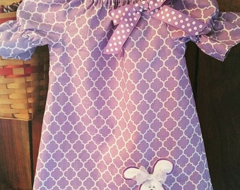 Purple Easter Dress with Bunny appliqué