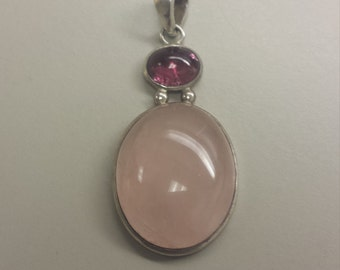 Sterling Silver Pendant With Rose Quartz