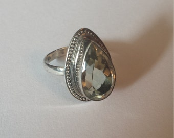 Sterling Silver .925 Green Amethyst Ring