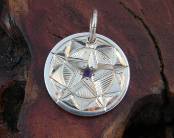 "Hand Engraved Sterling Silver Pendant with ""Star-Set"" Amethyst Stone"