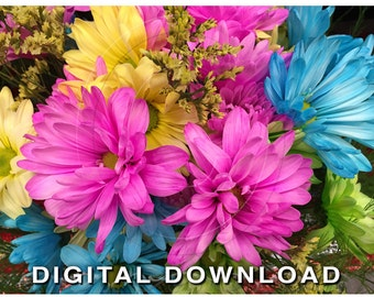 Pink Flower Clipart Photo | Floral Digital Clip Art Photo | Stock Photography | Instant Download Stock Photos | Pink Blue Yellow Floral 06