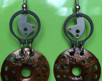 Steampunk earrings  repurposed hardware  trendy watch parts