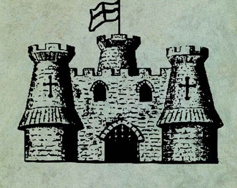 Castle Keep with Flag Flying - Antique Style Clear Stamp
