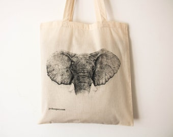 Elephant eco-shopping cotton tote bag, elephant design zero-waste market bag, ethical elephant cotton shoulder handbag, elephant bag