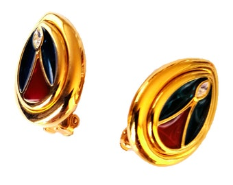 Joan Rivers- Rare Cathedral Windows Plique-A-Jour  Enameled 18KT GP Clip-On Earrings