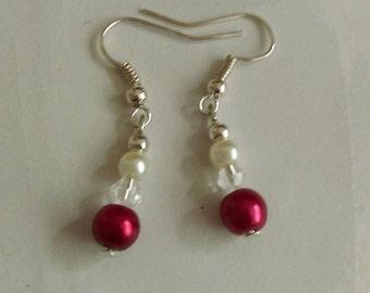 Red & White beaded earrings