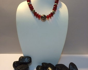 Red and silver ethnic necklace