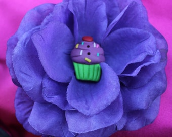 Purple Hair Flower with Purple cupcake button center