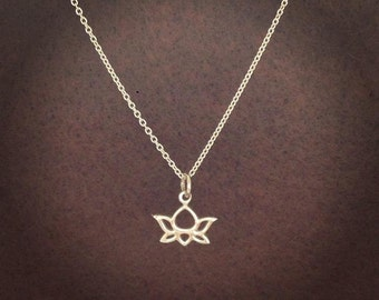 Silver Tiny Lotus Flower Yoga Necklace Pendant