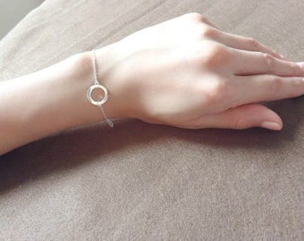 Silver Karma Circle Bracelet thin chain