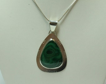 Handcrafted Sterling Silver and Malachite Pendant