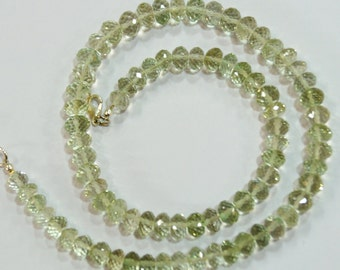 natural gem stone Brazilian green amethyst faceted beads complete necklace 170 carats 6 to 8 mm 16.5 inches