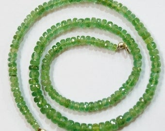 natural gem stone green kyanite faceted beads complete necklace top quality 110 carats 17 inches 3 to 6 mm