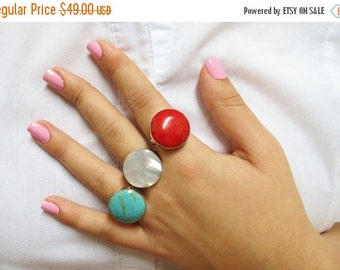 Ring White, Silver Pearl Ring, Pearl Jewelry, Shell Silver Ring, Mother of pearl Ring, Adjustable Ring, Wife Gigt, Big Ring, Fashion Ring,