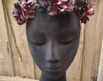 Burgundy Children's Flower Crown, Costume Headpiece, Fairy Crown/ Floral Headband