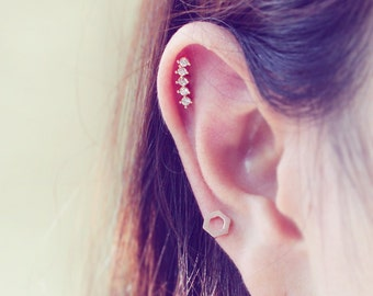 16g Five Stud CZ Ear Piercing Stud Barbell, cartilage tragus helix earring / 316L Surgical Steel / Sold as piece