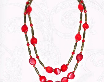 Russian jewelry, russian necklace, russia necklace, red coral necklace, coral necklace, coral bead necklace, long coral necklace