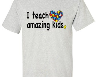 I Teach Amazing Kids Autism T-shirt mu709 Adult size Tee