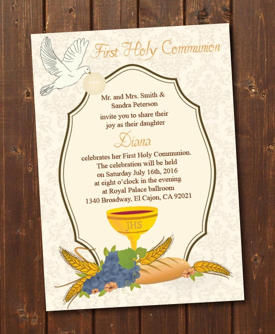 It is an image of Clever First Communion Cards Printable