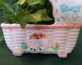 Vintage Music box, nursery planter, lamb baby planter, Rubens planter, baby nursery, nursery cradle, lamp planter, baby cradle planter, baby