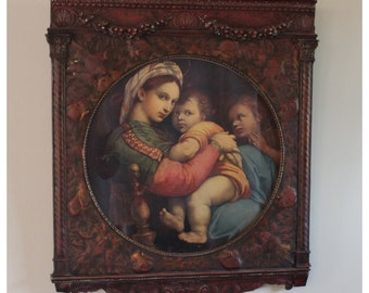 M5485 Antique 1920's Madonna Child by Raphael Lithograph Art Print