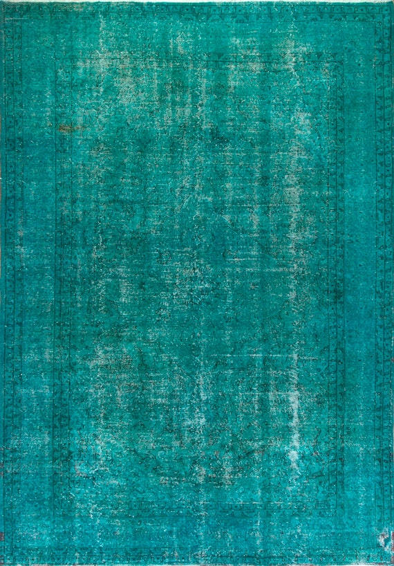 8 2x11 9 Ft Turquoise Teal Blue Color Overdyed Vintage Rug